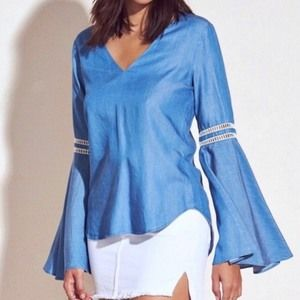 Lovers + Friends Bell Sleeve Chambray Top